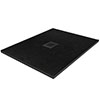 Imperia 800 x 800mm Black Slate Effect Square Shower Tray + Black Waste profile small image view 1