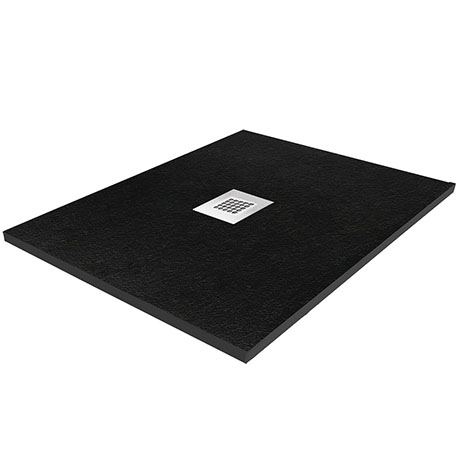 Imperia 800 x 800mm Black Slate Effect Square Shower Tray + Chrome Waste