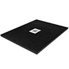 Imperia 800 x 800mm Black Slate Effect Square Shower Tray + Chrome Waste profile small image view 1