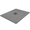 Imperia 900 x 900mm Graphite Slate Effect Square Shower Tray + Graphite Waste profile small image view 1