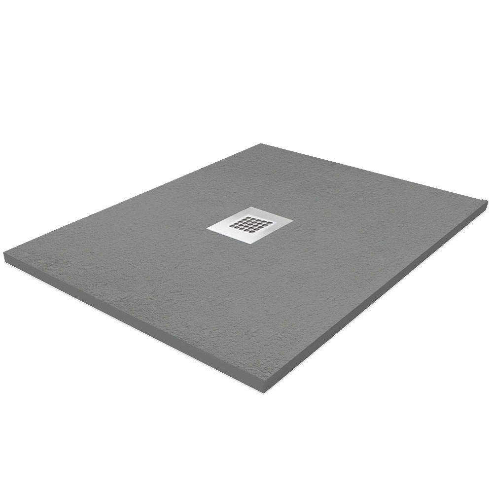 Imperia 800 x 800mm Graphite Slate Effect Square Tray + Chrome Waste