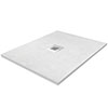 Imperia 900 x 900mm White Slate Effect Square Shower Tray + Chrome Waste profile small image view 1