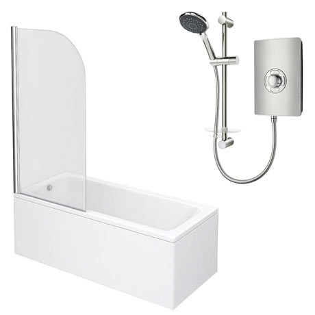 Square Single Ended Shower Bath Pack (Inc. Triton Aspirante 9.5kw Electric Shower)