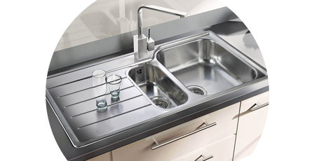 Square Stainless Steel Sink in a Kitchen
