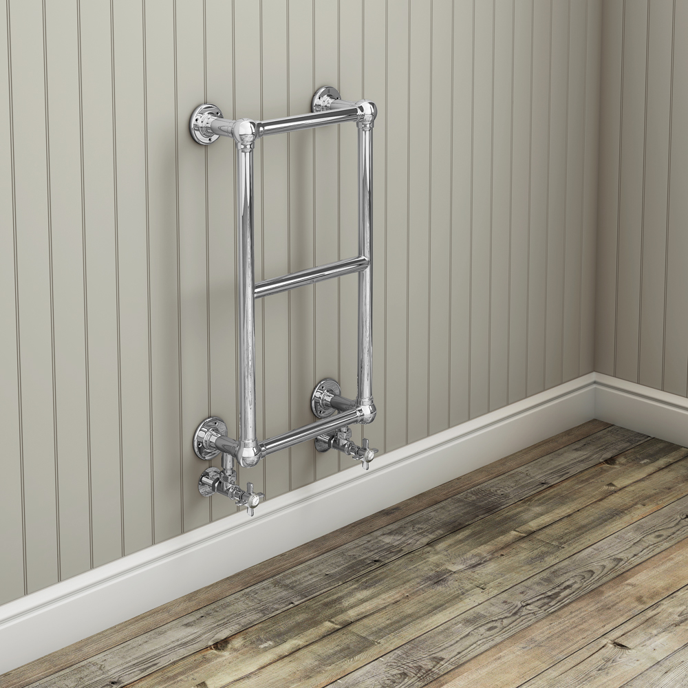 Stamford Traditional 700 x 400mm Chrome Cloakroom Towel Rail profile large image view 2