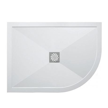 Simpsons - Offset Quadrant Low Profile Stone Resin Shower Tray & Waste - Right Hand - 3 Size Options