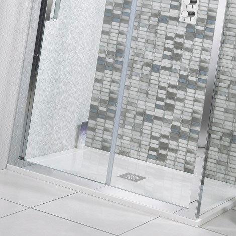 Simpsons - Quadrant Low Profile Stone Resin Shower Tray & Waste - 2 Size Options Profile Large Image