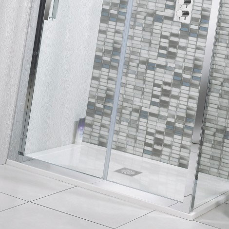 Simpsons - Offset Quadrant Low Profile Stone Resin Shower Tray & Waste - Left Hand - 3 Size Options profile large image view 2