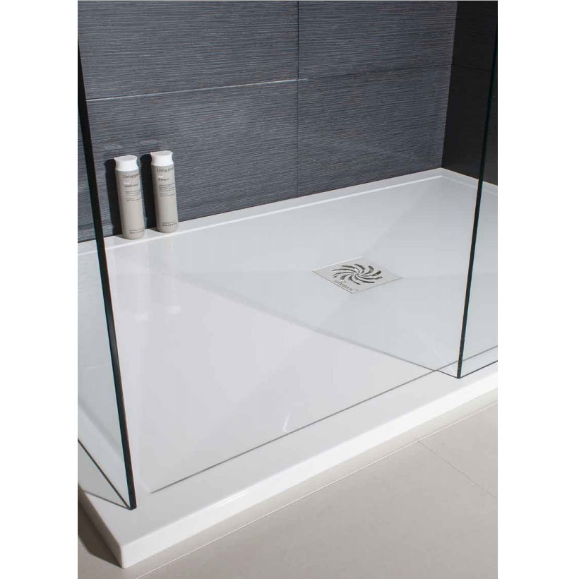 Simpsons - Offset Quadrant Low Profile Stone Resin Shower Tray & Waste - Left Hand - 3 Size Options profile large image view 3