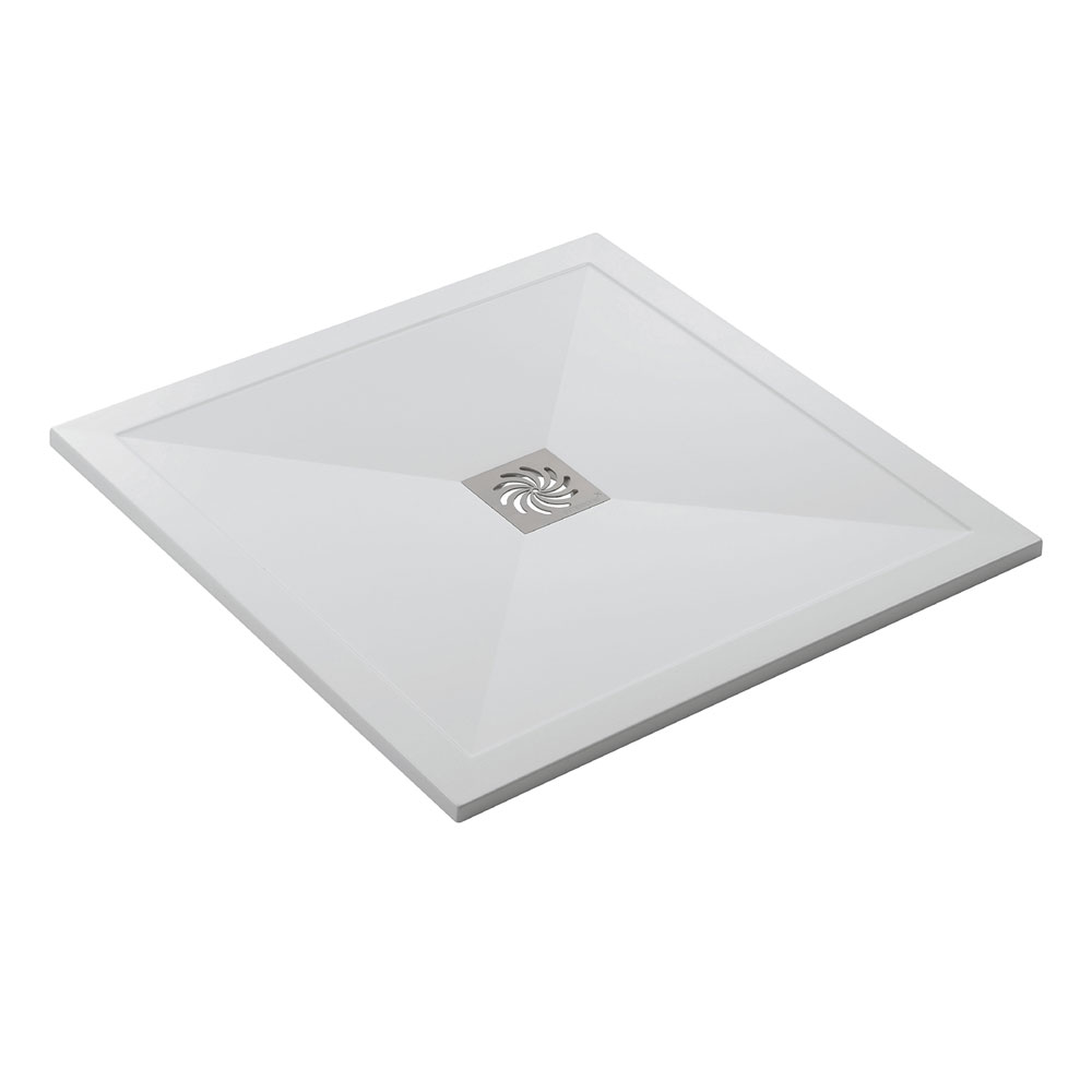 Simpsons - Square Low Profile Stone Resin Shower Tray & Waste - 2 Size Options profile large image view 4