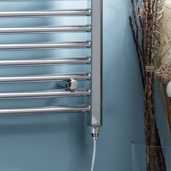 Diamond Straight Heated Electric Towel Rail - W600 x H1200mm - Chrome Profile Large Image