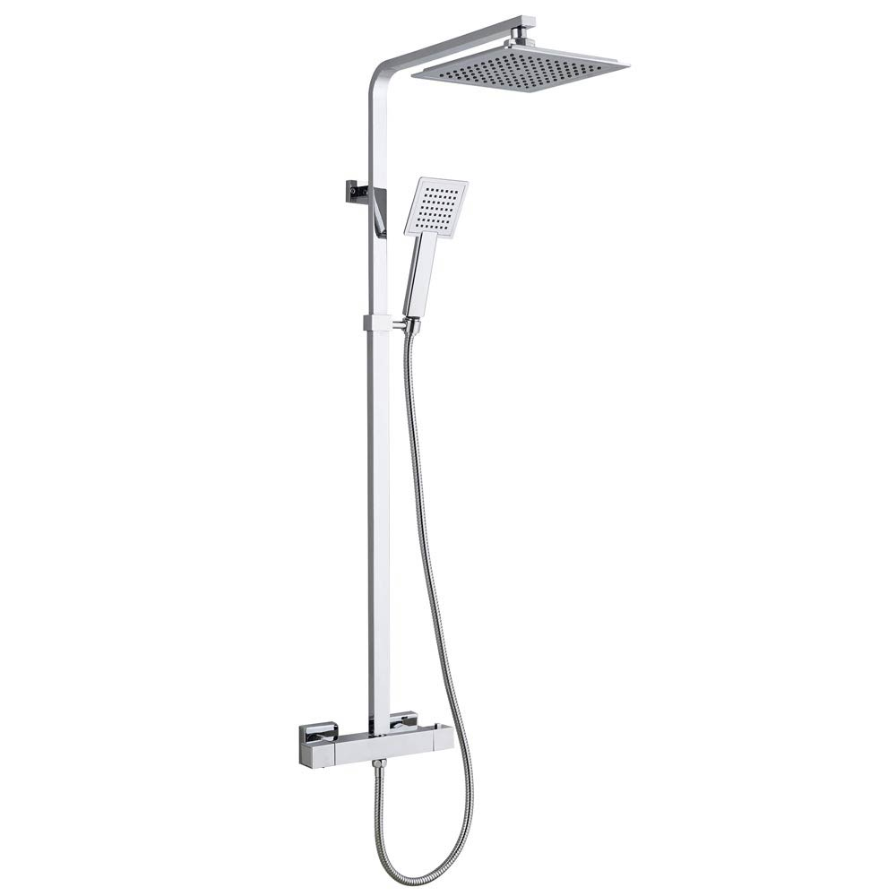 Summit Modern Square Thermostatic Shower - Chrome Large Image