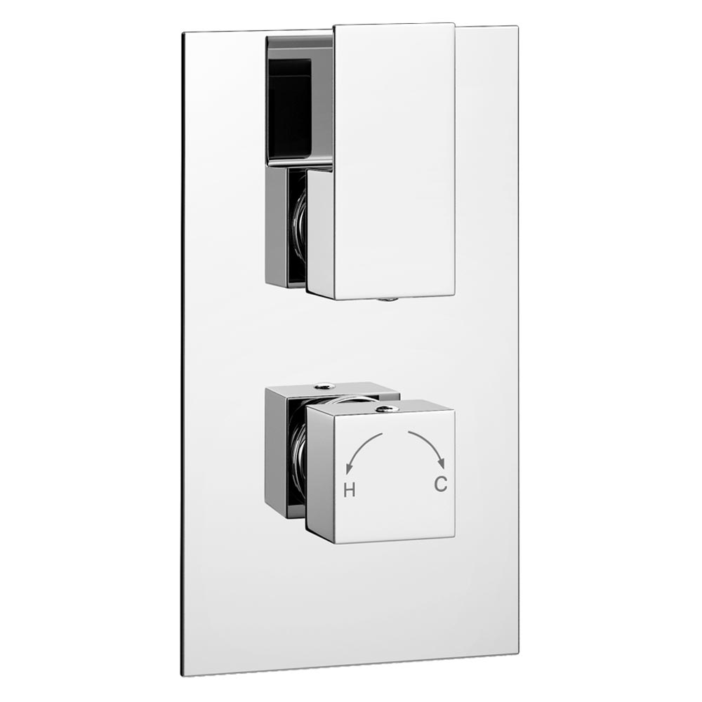 Summit Twin Concealed Thermostatic Shower Valve - Chrome Large Image