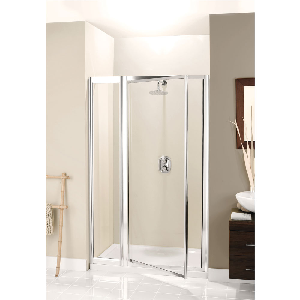 Simpsons - Supreme Pivot Shower Door with Inline Panel - 3 Size Options Large Image