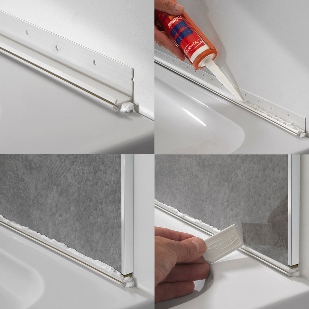Sureseal 2450mm White PVC Bracket for Showerwall profile large image view 3