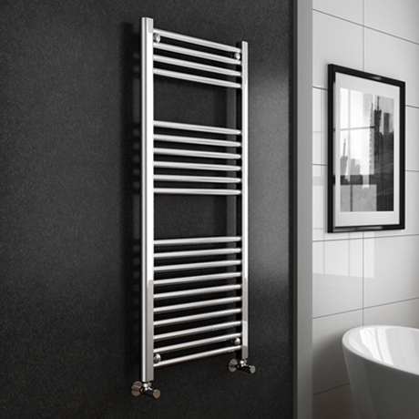 Turin Heated Towel Rail - W500 x H1200mm - Chrome - Straight
