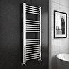 Turin Heated Towel Rail - W500 x H1200mm - Chrome - Straight profile small image view 1