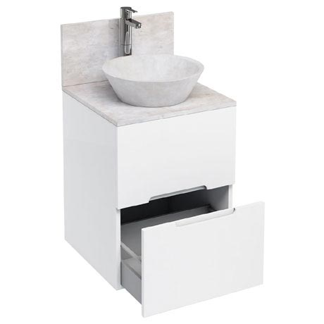 Aqua Cabinets - D500 Floor Standing Double Drawer Unit with Marble Cone Basin - White