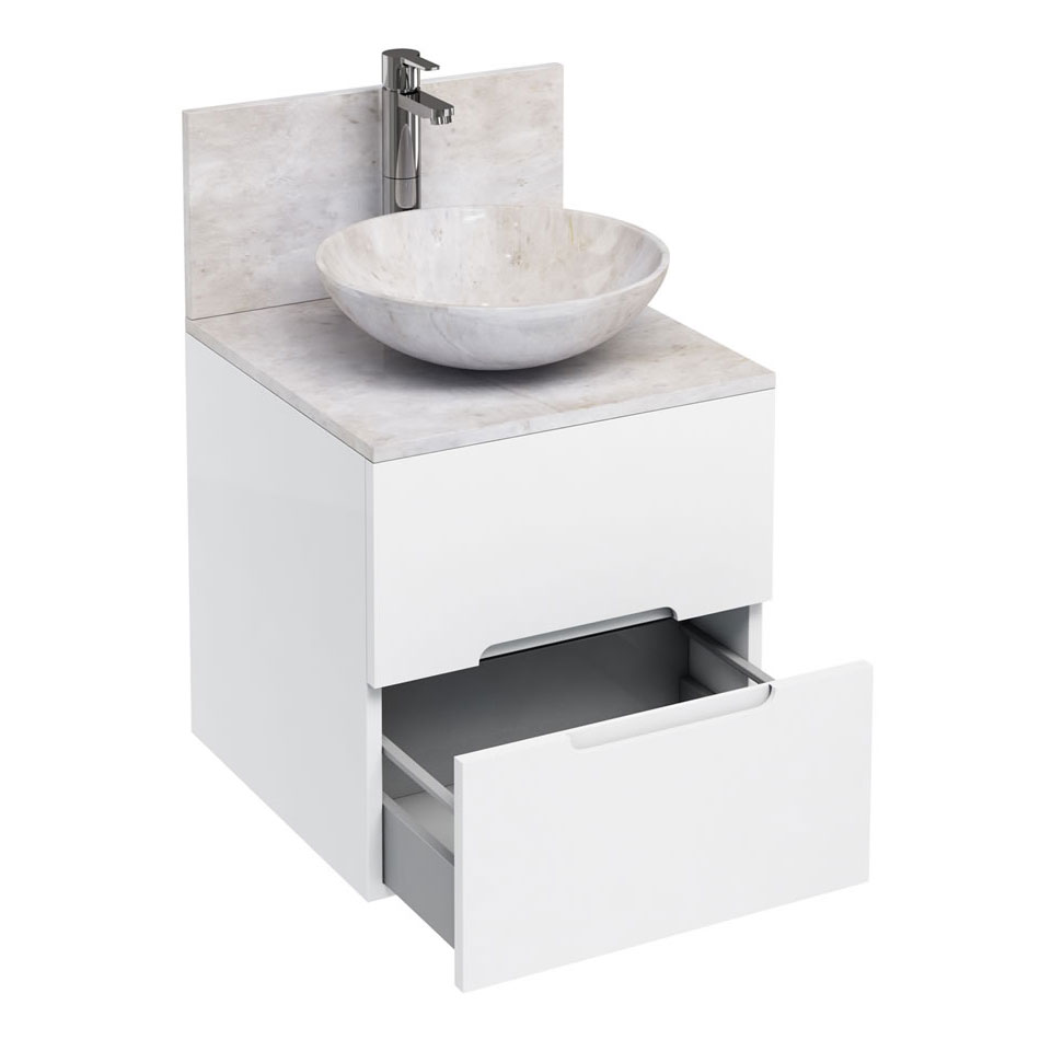 Aqua Cabinets - D500 Wall Hung Double Drawer Unit with Marble Round Basin - White profile large image view 1