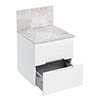Aqua Cabinets D500 Wall Hung Drawer Unit with Marble Worktop and Splashback - White profile small image view 1