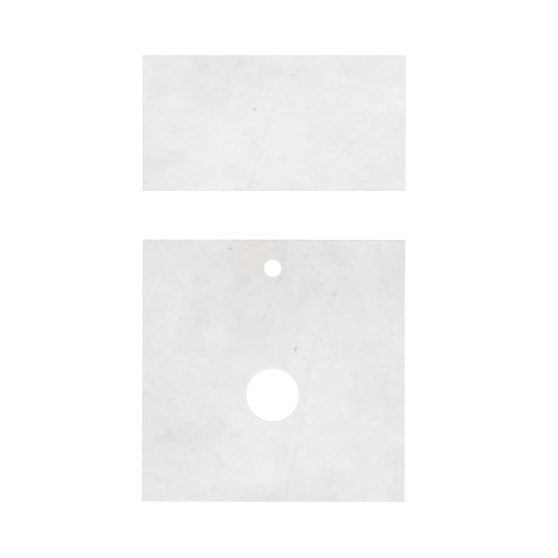 Aqua Cabinets - D500 Wall Hung Double Drawer Unit with Marble Round Basin - White profile large image view 3
