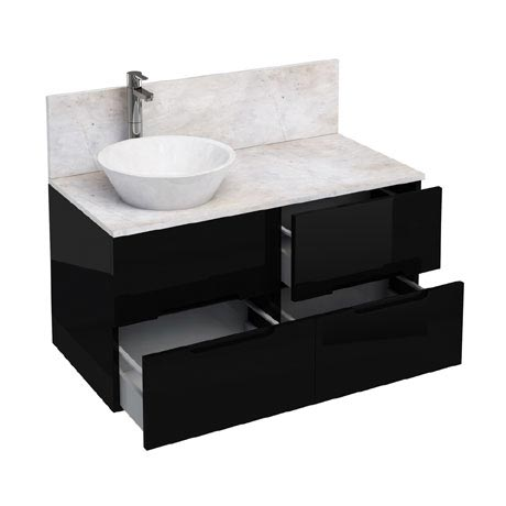 Aqua Cabinets - D1000 Wall Hung Double Drawer Unit with Marble Cone Basin - Black