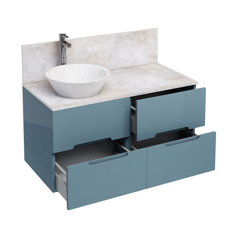 Aqua Cabinets - D1000 Wall Hung Double Drawer Unit with Marble Cone Basin - Ocean profile large image view 1