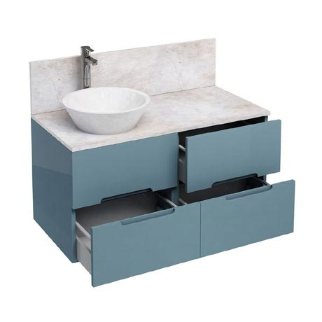 Aqua Cabinets - D1000 Wall Hung Double Drawer Unit with Marble Cone Basin - Ocean