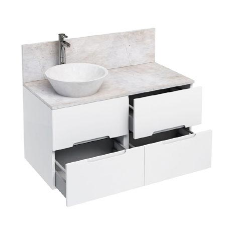 Aqua Cabinets - D1000 Wall Hung Double Drawer Unit with Marble Cone Basin - White