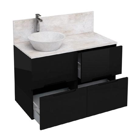 Aqua Cabinets - D1000 Floor Standing Double Drawer Unit with Marble Cone Basin - Black