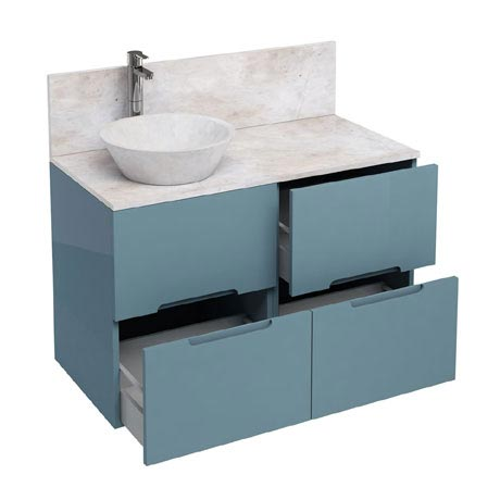 Aqua Cabinets - D1000 Floor Standing Double Drawer Unit with Marble Cone Basin - Ocean