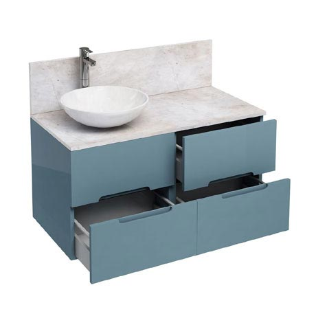 Aqua Cabinets - D1000 Wall Hung Double Drawer Unit with Marble Round Basin - Ocean