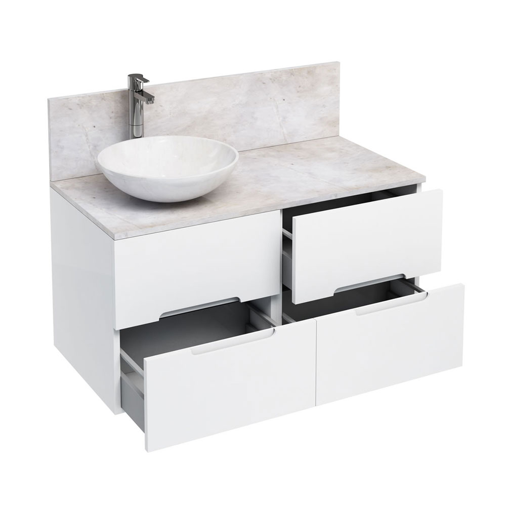 Aqua Cabinets - D1000 Wall Hung Double Drawer Unit with Marble Round Basin - White Large Image