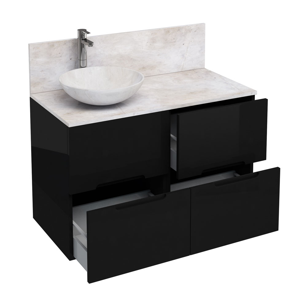Aqua Cabinets - D1000 Floor Standing Double Drawer Unit with Marble Round Basin - Black Large Image
