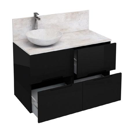 Aqua Cabinets - D1000 Floor Standing Double Drawer Unit with Marble Round Basin - Black
