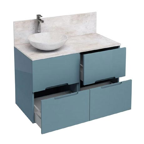Aqua Cabinets - D1000 Floor Standing Double Drawer Unit with Marble Round Basin - Ocean
