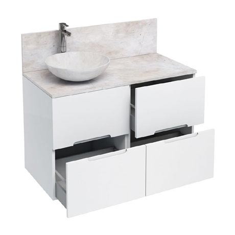 Aqua Cabinets - D1000 Floor Standing Double Drawer Unit with Marble Round Basin - White