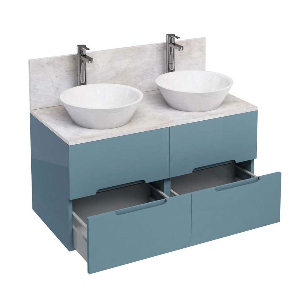Aqua Cabinets - D1000 Wall Hung Double Drawer Unit with Two Marble Cone Basins - Ocean Large Image