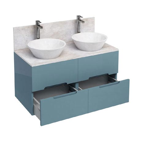 Aqua Cabinets - D1000 Wall Hung Double Drawer Unit with Two Marble Cone Basins - Ocean