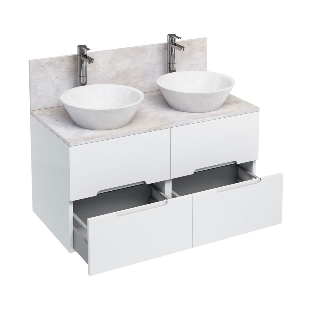 Aqua Cabinets - D1000 Wall Hung Double Drawer Unit with Two Marble Cone Basins - White Large Image