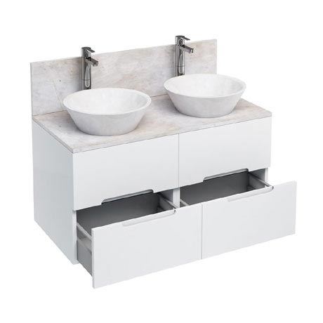 Aqua Cabinets - D1000 Wall Hung Double Drawer Unit with Two Marble Cone Basins - White