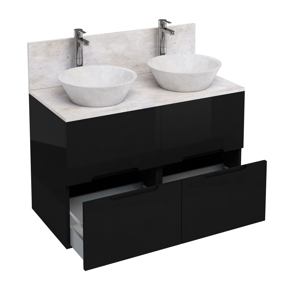 Aqua Cabinets - D1000 Floor Standing Double Drawer Unit with Two Marble Cone Basins - Black Large Im
