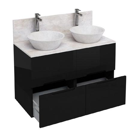Aqua Cabinets - D1000 Floor Standing Double Drawer Unit with Two Marble Cone Basins - Black