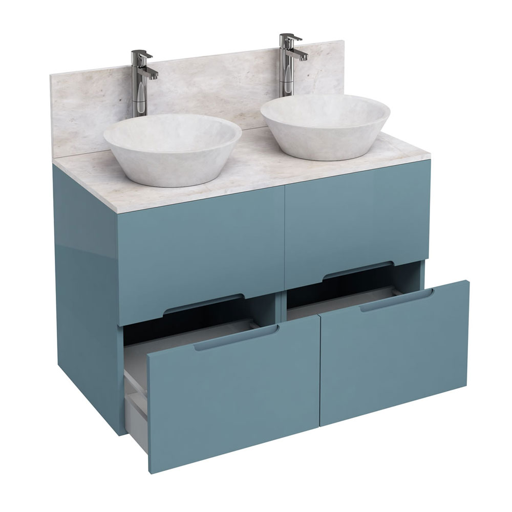 Aqua Cabinets - D1000 Floor Standing Double Drawer Unit with Two Marble Cone Basins - Ocean Large Image