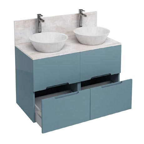 Aqua Cabinets - D1000 Floor Standing Double Drawer Unit with Two Marble Cone Basins - Ocean