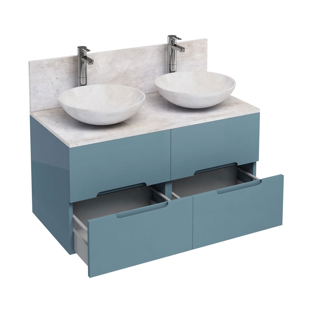 Aqua Cabinets - D1000 Wall Hung Double Drawer Unit with Two Marble Round Basins - Ocean Large Image