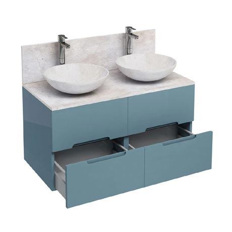 Aqua Cabinets - D1000 Wall Hung Double Drawer Unit with Two Marble Round Basins - Ocean