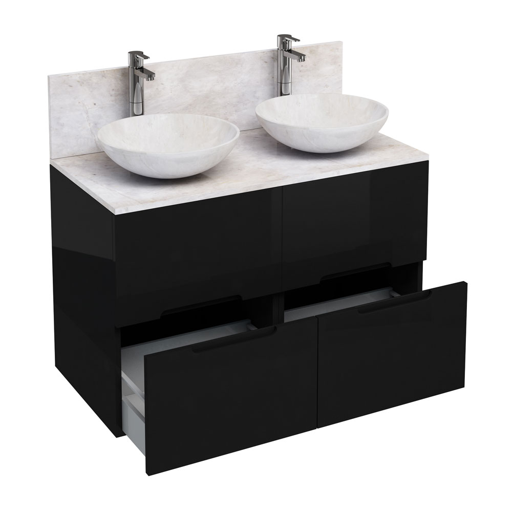 Aqua Cabinets - D1000 Floor Standing Double Drawer Unit with Two Marble Round Basins - Black Large I
