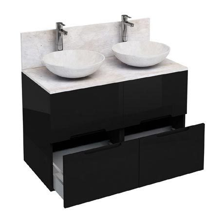 Aqua Cabinets - D1000 Floor Standing Double Drawer Unit with Two Marble Round Basins - Black