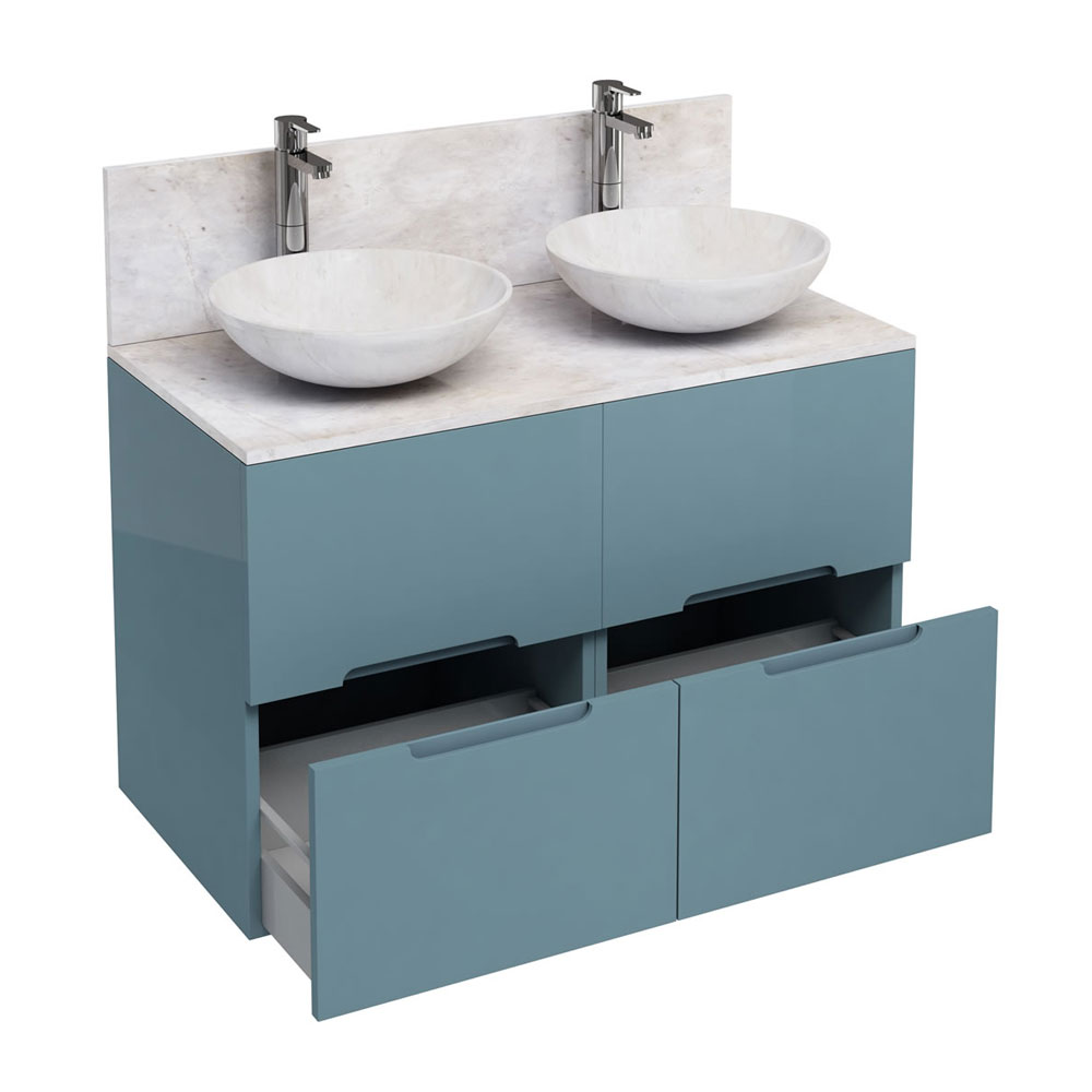 Aqua Cabinets - D1000 Floor Standing Double Drawer Unit with Two Marble Round Basins - Ocean Large I